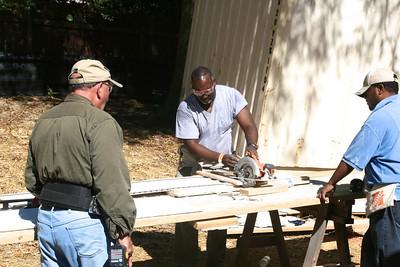 Sawing wood.