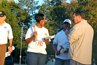 Habitat Home Recipient starts the 5K race.