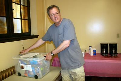 Stefan brings in a box