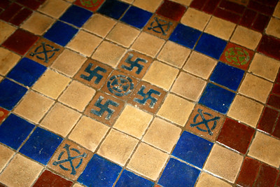 Ornate tile in church entry. I guess this wasn't an evil symbol back in the late 1800s when this church was built.