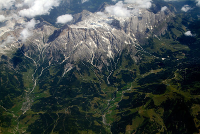 7/23 - I spent most of today on a plan flying from Amsterdam to Nairobi. The best part was that there were so few clouds for most of the day that we had a great view of the lands we were traveling over.  In this picture:  The eastern end of the Alps, in Austria, south of Salzburg.