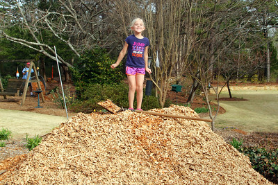 Great Day of Service started early for us, with three men from the Harvest Sunday School class coming by this evening to spread mulch. Here's adorable Anne-Gregory playing on top of the pile of mulch while her dad works in the background. 3/21 - Queen of the Mountain