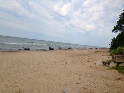Rocky beach along Baltic Sea at camp