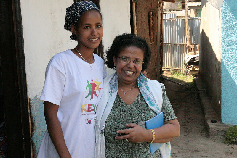 Here is out own Alemnesh with one of her daughters.