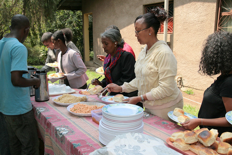 After recreation, we enjoy an Ethiopian meal and fellowship together.