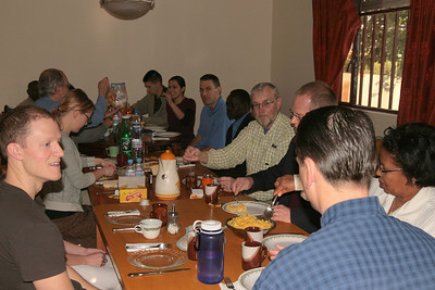 Friday, 1/15/2010. On their first morning in Ethiopia the team shares breakfast together.  (How I miss that Ethiopian coffee!)