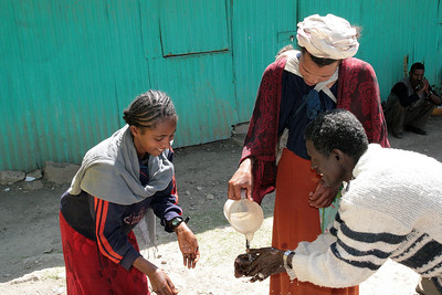Before eating it is customary to wash hands, because in Ethiopia you eat with your hands!