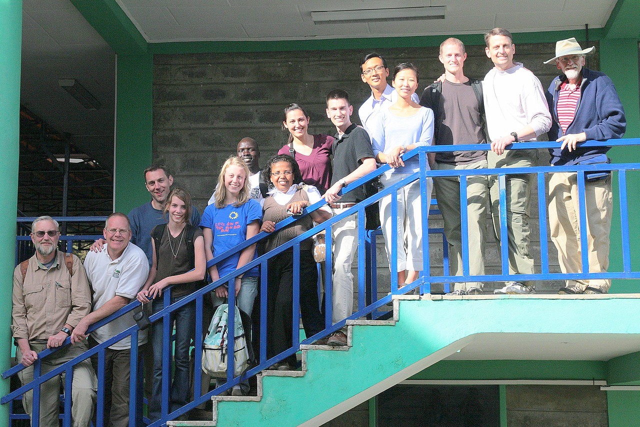 The entire Bethlehem Baptist Ethiopia mission team, plus Bethlehem missionaries Paul and Susan Lim, on the steps of CURE Children's Hospital in Addis Ababa.