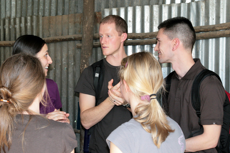 Team members visit together (Christy Ivy, Clint McAlpine, Robert Ivy, Emma Button, Jenna Wyman).