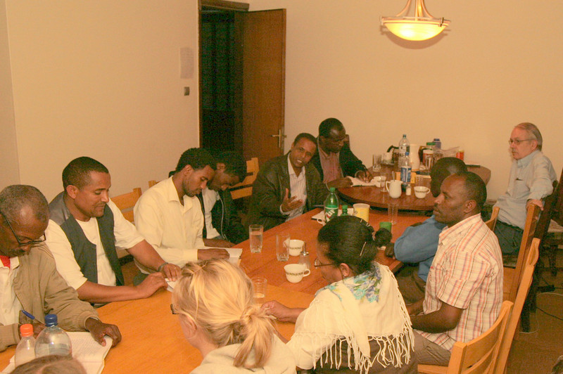 Pastors and leaders of Mekanisa Addis Kidan Baptist Church gather with the team at the mission compound for testimonies, sharing their mission and passion, and for fellowship.