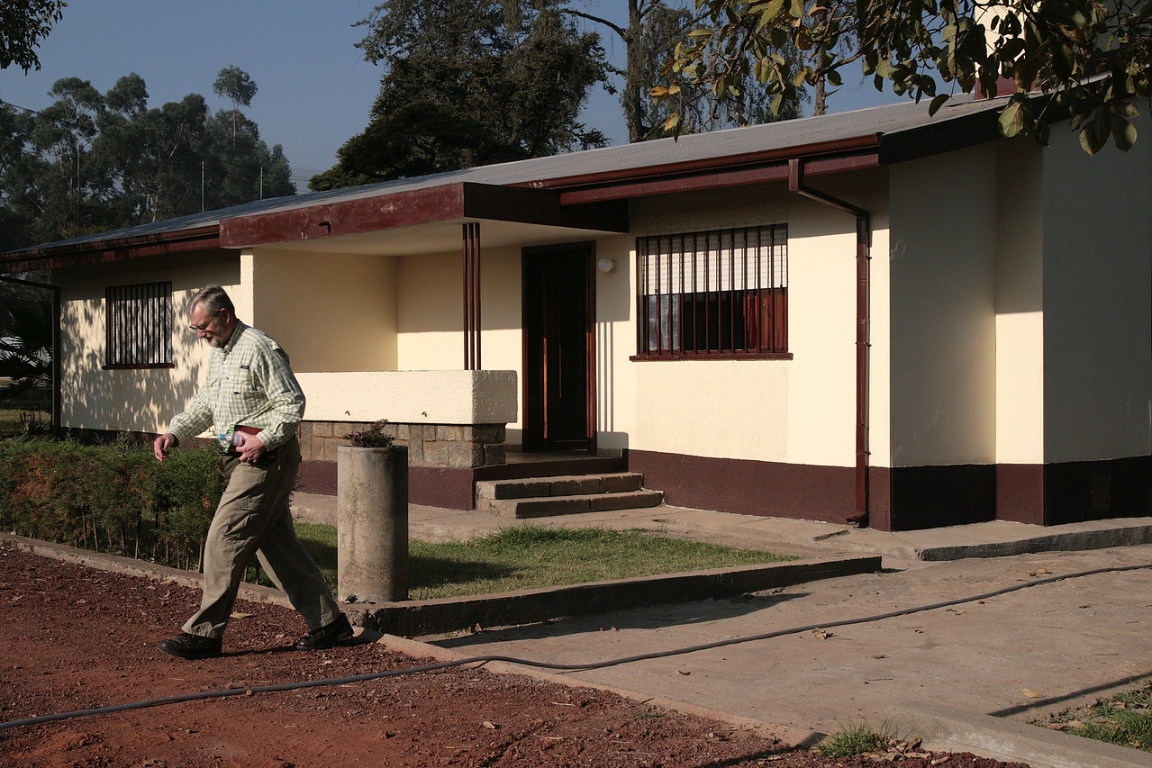 Keith Anderson takes a stroll across the mission compound.