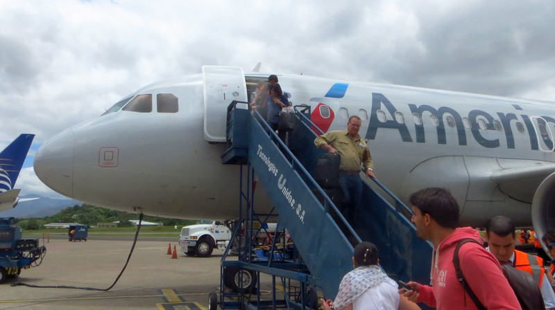 Arriving at Tegulcigalpa airport.