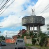 A concrete water tower on our daily commute to the church.