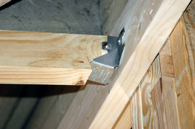 """Child's bedroom ceiling rafter system attachment detail """"front"""" side."""