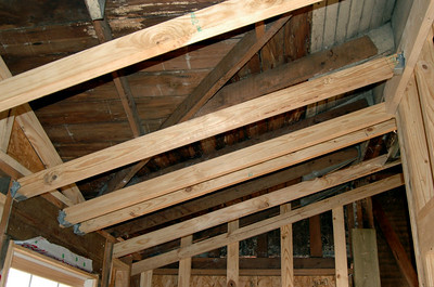 Child's bedroom ceiling rafter system.