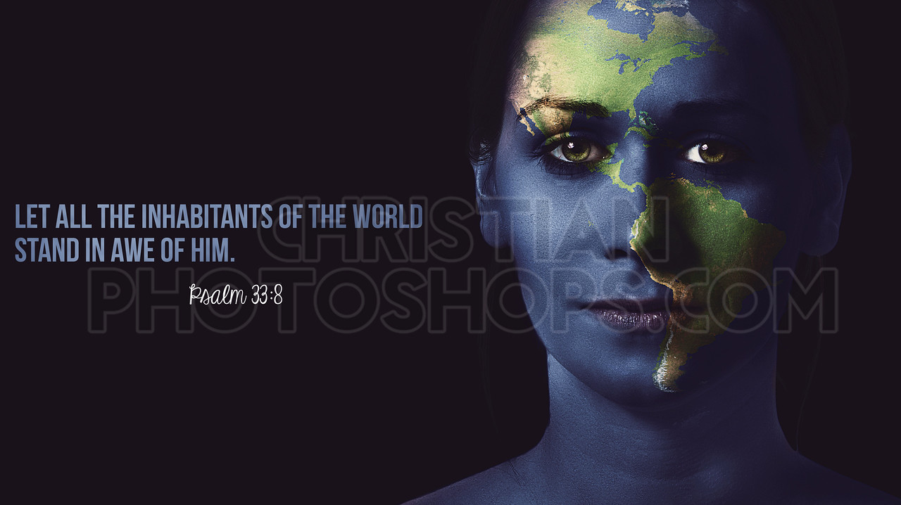 World painted on womans face