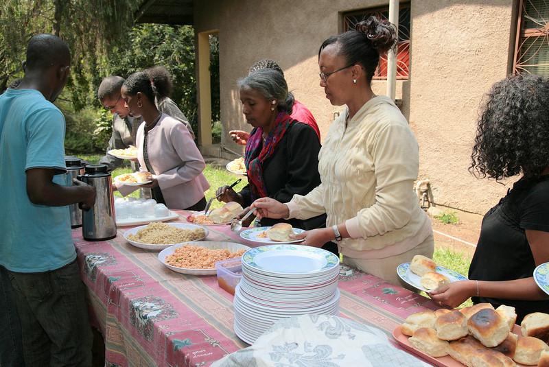 "<div align=""left"">After recreation, we enjoy an Ethiopian meal and fellowship together.</div>"