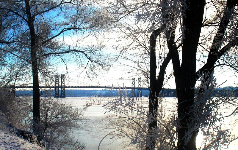 I 74 Bridge Across Mississippi River from Bettendorf, IA, in Winter
