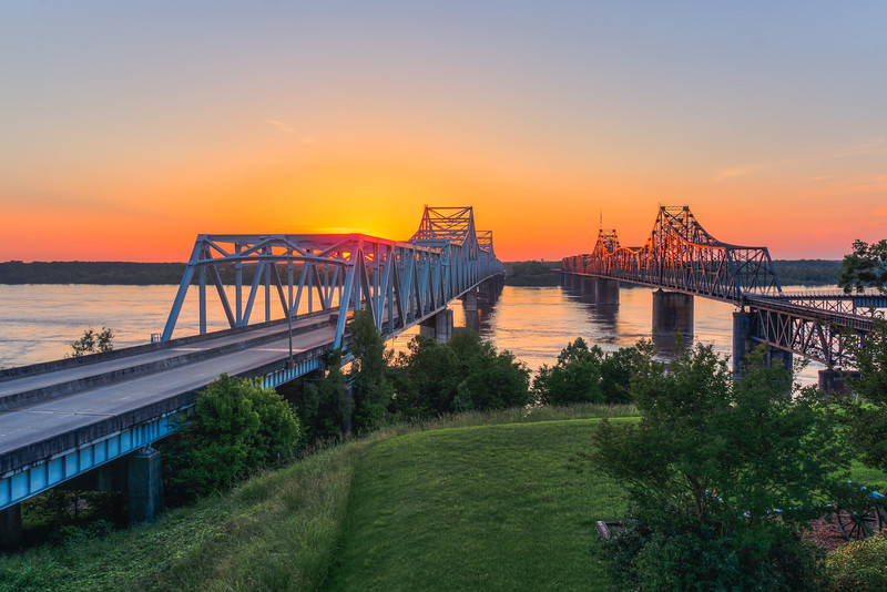 Sunset over the Mississippi River in Vicksburg