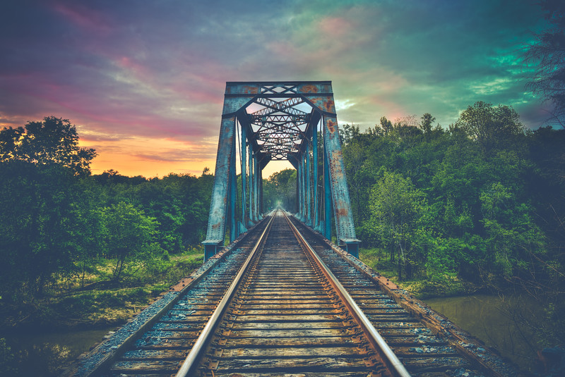 Tracks Under a Pastel Sky