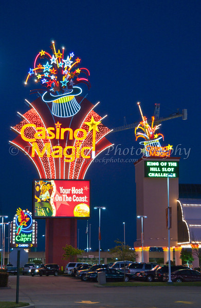 The Casino Magic sign illuminted at night in Biloxi, Mississippi, USA, America.