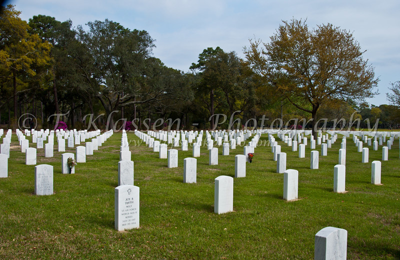 Tombstones of the National Cemetery in Biloxi, Mississippi, USA, America.