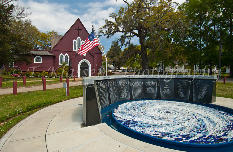 The Church of the Redeemer and Hurricane Camille memorial in Biloxi, Mississippi, USA, America.