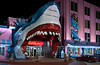 Sharkheads souvenir shop illuminated at night in Biloxi, Mississippi, USA, America.