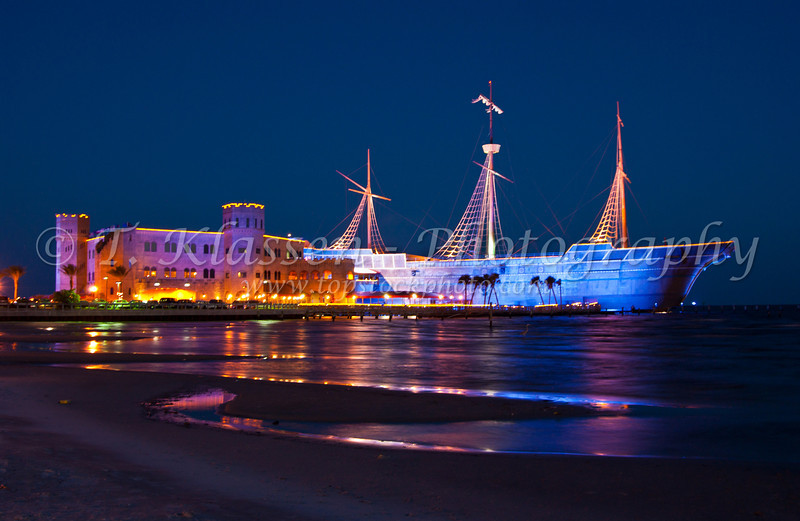 The Treasure Bay Casino illuminated at dusk in Biloxi, Mississippi, USA, America.