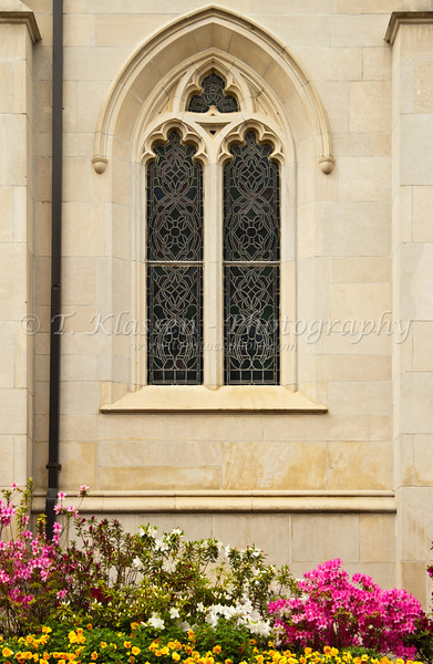 Church window of the First Baptist Church in Jackson Mississippi, USA, America.