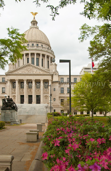 The state capital building with azalea flowers in Jackson Mississippi, USA, America.