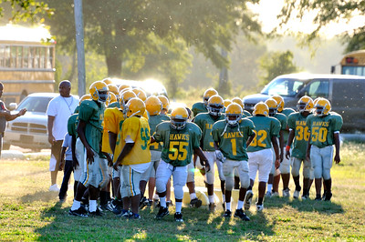 Shaw High School Football practice. Number 55 is fired up for Friday nights game.