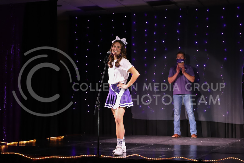 Alpha Chi Omega representative Carter McFadden showing off her pride in round one of the Miss.K-State competition. <br /> Elizabeth Proctor Collegian Media Group