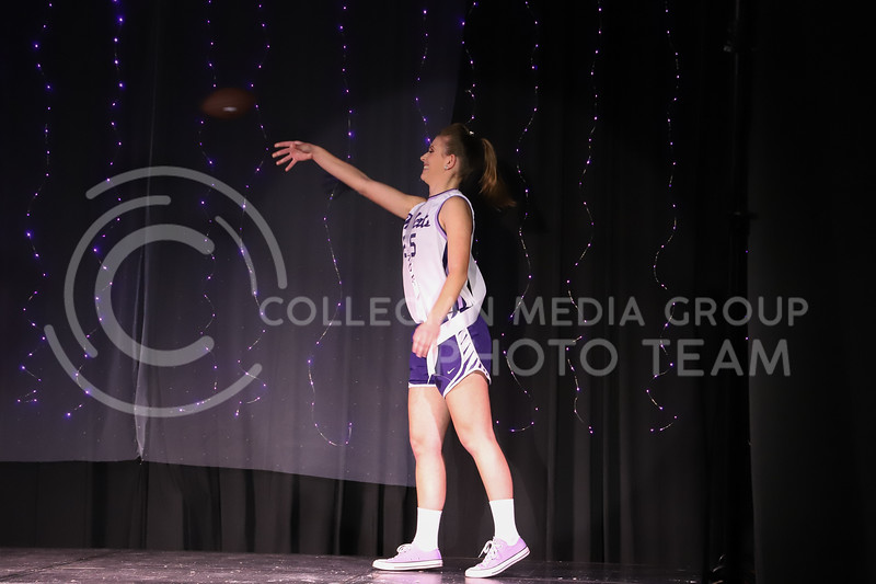 Alpha Omega Epsilon representative Katie Dreiling showing off her school pride in round one of the Miss.K-State competition. <br /> Elizabeth Proctor Collegian Media Group