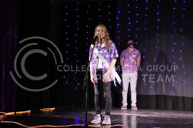 Alpha of Clovia representative Sarah Jane Kelly showing off her school pride in round one of the Miss.K-State competition. <br /> Elizabeth Proctor Collegian Media Group