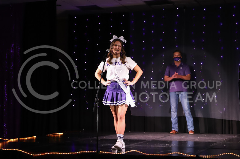 Alpha Chi Omega representative Carter McFadden showing off her school pride in round one of the Miss.K-State competition. <br /> Elizabeth Proctor Collegian Media Group