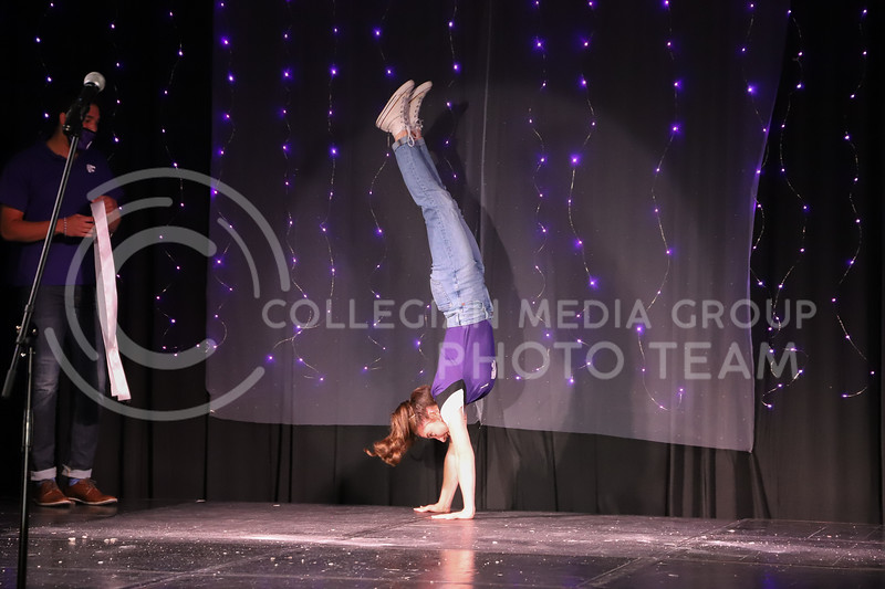 Smurthwaite representative Rhianna Thomas showing off her school pride in round one of the Miss.K-State competition. <br /> Elizabeth Proctor Collegian Media Group
