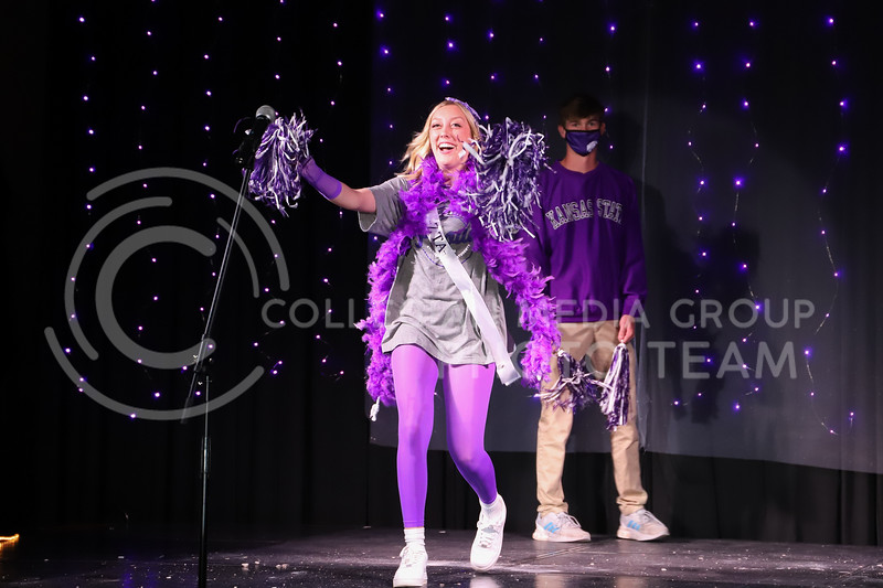 Zeta Tau Alpha representative Mayci Armstrong showing off her school pride in round one of the Miss.K-State competition. <br /> Elizabeth Proctor Collegian Media Group
