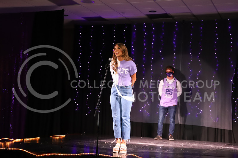Delta Delta Delta representative Elleigh Peters showing off her school pride in round one of the Miss.K-State competition. <br /> Elizabeth Proctor Collegian Media Group