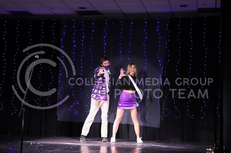 Kappa Kappa Gamma representative Caitlyn Rude showing off her school pride in round one of the Miss.K-State competition. <br /> Elizabeth Proctor Collegian Media Group