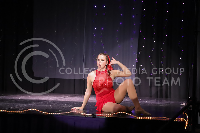 Gamma Phi Beta representative Molly Kaiser performing a dance routine in round two (talent) at the Miss.K-State competition. <br /> Elizabeth Proctor Collegian Median Group