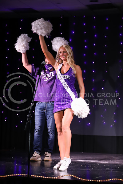Classy Cats representative Josi Frigon showing off her school pride in round one of the Miss.K-State competition. <br /> Elizabeth Proctor Collegian Media Group
