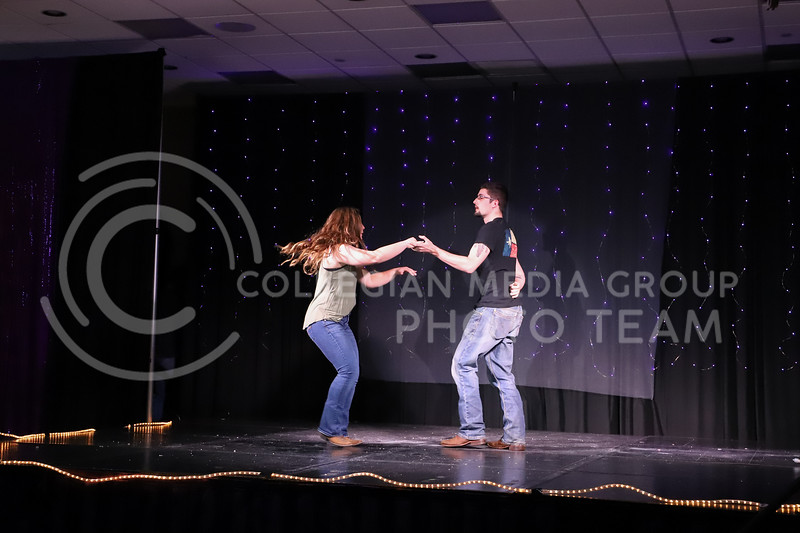 Alpha Gamma Delta representative Kaitlyn Uhlrich performing a swing dance routine in round two (talent) at the Miss.K-State competition. <br /> Elizabeth Proctor Collegian Median Group