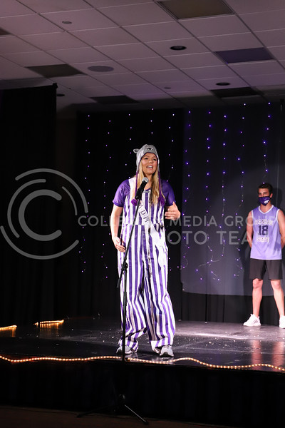 Alpha Delta Pi representative Collen Fulton showing off her school pride in round one of the Miss.K-State competition. <br /> Elizabeth Proctor Collegian Media Group