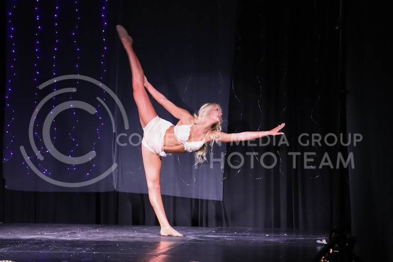 Classy Cats representative Josi Frigon performing a lyrical dance routine in round two (talent) at the Miss.K-State competition. <br /> Elizabeth Proctor Collegian Median Group
