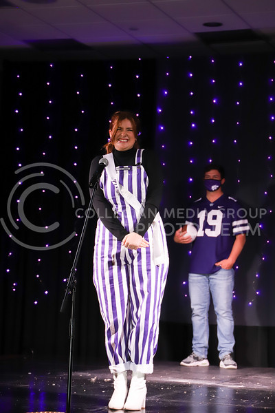 Kappa Alpha Theta representative Caroline Gambill showing off her school pride in round one of the Miss.K-State competition. <br /> Elizabeth Proctor Collegian Media Group