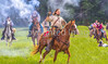Confederate cavalry chase Union soldiers at Centralia, MO, 150th anniversary reenactment - C1-2 - 72 ppi