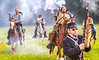 Confederate cavalry chase Union soldiers at Centralia, MO, 150th anniversary reenactment - C1-0356 - 72 ppi