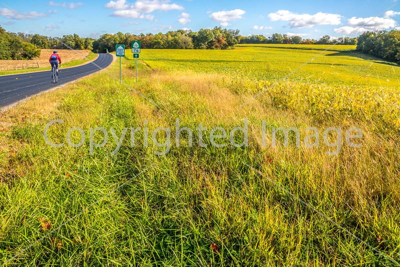 Cyclists on US 76 Bike Route, TransAm, & MRT Trail near St  Mary's, Missouri - C3-0024 - 72 ppi
