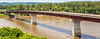 Cyclist on bridge over Missouri River at Hermann, Missouri - C3-0128 - 72 ppi-2